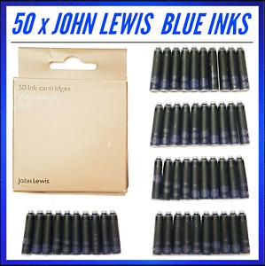 50 x JOHN LEWIS Universal Fountain Pen Ink Cartridges Blue Office School