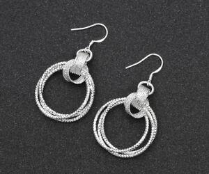 925 Sterling Silver Jewelry Three Rings Flash Earrings Charm Women's Jewelry