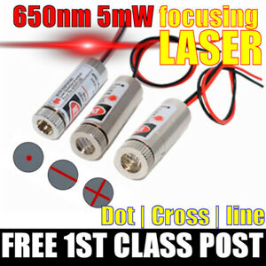 Focusable LASER 650nm 5mw Focus Dot Line or Cross Red Diode. FREE 1ST CLASS POST