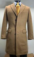 New Mens Brown Wool Overcoat Great Coat Heavy Winters
