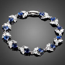 18K Gold GP Made With Swarovski Crystal Elements Heart Blue Leaf Bangle Bracelet