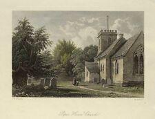 Surrey Peper Harow Iglesia Godalming mano Color Original Antigua de impresión de 1841