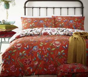 Furn Double Orange Pomelo Floral Reversible Duvet Cover Set Birds, Butterflies