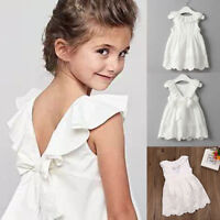 Flower Girls Sweet Princess Dress Baby Kids Party Pageant Floral Dress Clothes