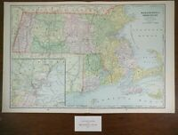 "Vintage 1902 MASSACHUSETTS RHODE ISLAND Atlas Map 22""x14"" Old Antique WOONSOCKET"