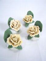 Rose Set of 4 Ceramic Handmade Hand Painted Roses Tan Ivory