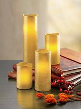 LED-Kerzen Glamour, 4er-Set, gold Echtwachskerzen mit warmem LED-Licht 4 Größen