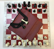 "Weighted Chess Set Combo: Red Bag, Red Board & 3 3/4"" King Pieces - FREE SHIP"