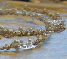 Greek Orthodox Wedding Stefana 2 Ivory Gold Leaf Pearl Stephana Tiara Crowns