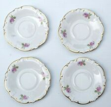 """4 Saucers (6"""") Lilac Time Schumann Arzberg Germany ca 1954 Gold Leaf edge"""
