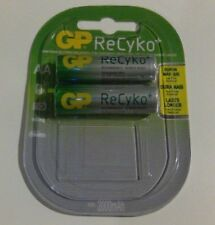2 x GP Rechargeable AA batteries ReCyko 2000 mAh NiMH 1 Pack of 2 batteries