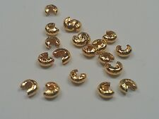 30 Iron Bead Crimp Covers, Gold, Size 3mm - Jewelry Making