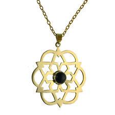 Modeschmuck-Halsketten & -Anhänger aus Stein und Messing mit Onyx-Hauptstein