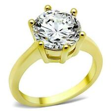 Ladies gold solitaire ring 3 carat cz 18kt steel engagement 10mm round new 1407