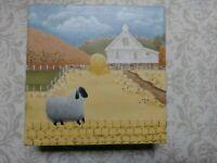 Folk Art Original Oil or Acrylic Painting Landscape Sheep Naive Primitive Signed