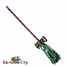Childs Colourful Prop Broom Halloween Witch Fancy Dress Costume Accessory