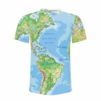 Men's World Map Earth Map All-over Funny Print T-Shirt Shirt Crew Neck Tees