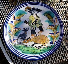 Majolica Delft Catalan Lg Art Pottery Plate - Hunter w/ Deer 1800's