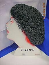 #1062 Nylon Round Elastic Hair net,  Black - 6 pcs.