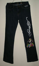 ED HARDY  by Christian Audigier Women's Dress Dark Blue Jeans Size 11 / 12 SALE!