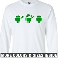 Droid Eats Apple Scene LONG SLEEVE T-Shirt - Android Comic Strip Google Eating