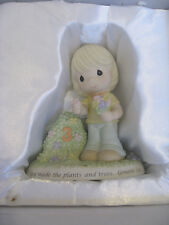 "PRECIOUS MOMENTS FIGURINE ""GOD MADE THE PLANET AND TREES GENESIS 1:11"" #730019"