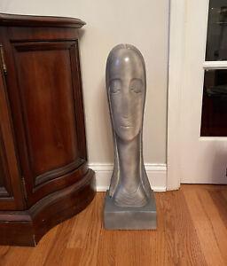 "Vtg art Signed American Female Artist RIMA  26-1/4"" Woman face Sculpture Statue"