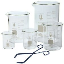 Glass Low Form Beaker Set With Beaker Tongs 5 Sizes 50 100 250 500 And 1l