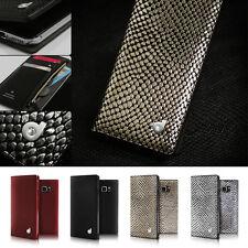Genuine Leather Swarovski Zip Wallet Flip Case Cover Samsung Galaxy Note 5/S6/S7