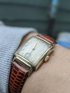 Gents Curved Art Deco Fork Lug Hamilton USA 19J 14k Gold Filled Watch - Working
