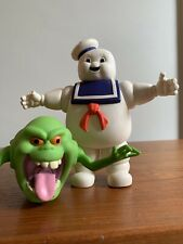 """Vintage 1984 Ghostbusters Stay Puft 7"""" Plastic Rubber And Slimer Action Figures"""