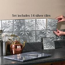 Kitchen Wall Tiles 14 Pcs Tin Backsplash Self Adhesive Floral Strips Home Decor