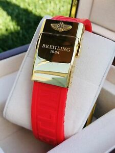 Custom 24K Gold Plated 44MM BREITLING Rubber RED Deployment for Apple Watch