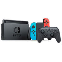Nintendo Switch with Neon Joy-Con + Nintendo Switch Pro Controller