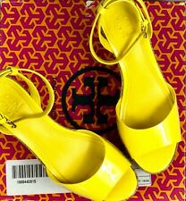 TORY BURCH Dahlia Yellow Patent Calf Leather Cork Wedge Women's Sandals Size 8