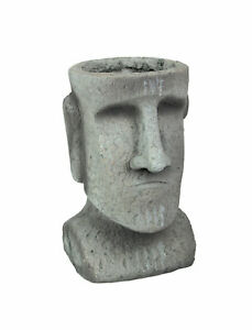 Easter Island Ahu Akivi Moai Concrete Planter Plant Pot 10.25 Inches High