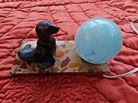 Ancienne lampe chevet-Otarie/Phoque art-déco-veilleuse boule bleu mouchetée