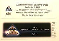 Disney Star Tours Last Flight To Endor Commemorative Boarding Pass - 2010