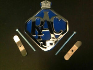 RAC-CAR-BADGE-BAR-BADGE-CHROME-PLATE-BLUE-BACKING AA