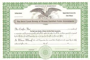 The Saint Louis Society Women Certified Public Accountants st. stock certificate