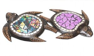 """Turtle Double Wood Carving Plaque Hanging With Mosaic Bali 14"""" Zenda Imports"""