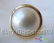14K GOLD HUGE REAL 8# 20MM WHITE SOUTH SEA MABE PEARL RING p788