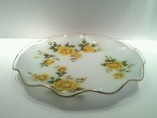 Vintage Ruffled Glass Table Bowl with Yellow Roses & Gold Trim