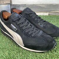 UK9 Puma Whirlwind Suede Leather Trainers - Retro Style Black/Cream - EU43