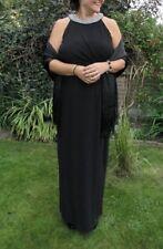 Monsoon Phoenix Maxi Evening Dress Black - Embellished Collar &Twist Detail UK18