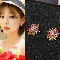 Plated Flower Anti Allergy Zircon Fashion Accessories Ear Studs Earring Jewelry