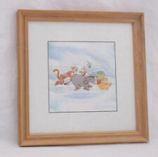 Disneys Winter Season-Winnie the Pooh/Piglet/Eeyore/Tigger -Matted/Framed/Print