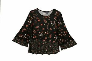 Ladies Summery Stylish Floral on Black print Top available in sizes 4 to 12