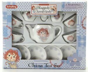 NIB Schylling Raggedy Ann & Andy 13 Piece China Tea Set Toy