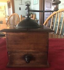 Antique Peugeot Freres Brevete Depose Wood Coffee Grinder Mill Copper Drawer